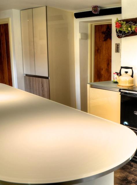 Smithy cottage kitchen area - Truly Stunning Handleless Kitchen With Lechner Glass Worktops Leyland