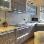 designer kitchen with Zebrano grey soft close doors and drawers