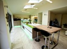 kitchen island with glass worksurfaces